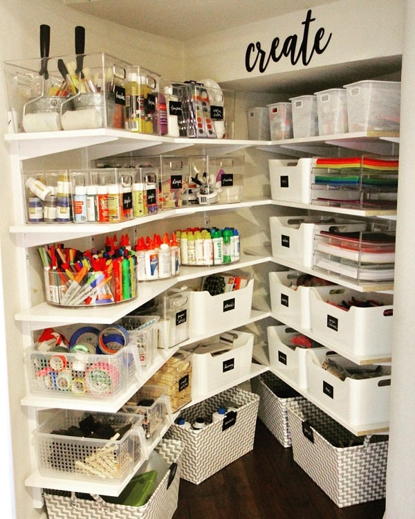 Incredible White Bins Craft Room
