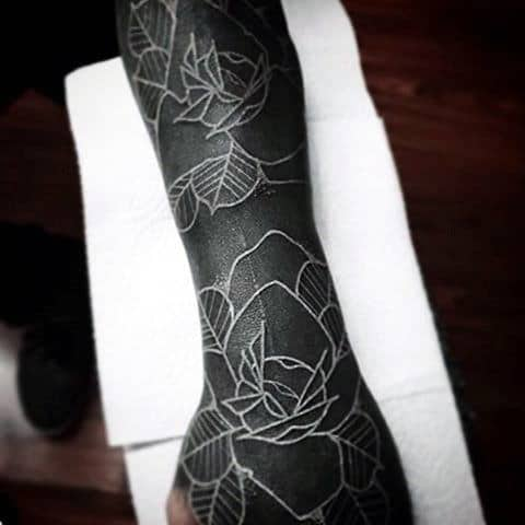 Incredible White Ink Rose Sleeve Tattoos For Males
