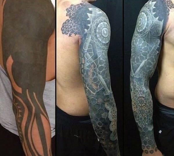 Incredible White Ink Tattoo Sleeve Cover Up For Males With Geometric Shapes