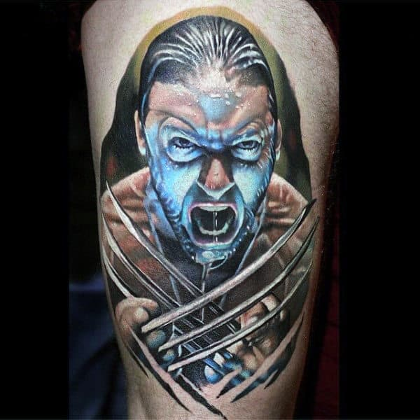 Incredible Wolverine Realistic Guys James Howlett Thigh Tattoos