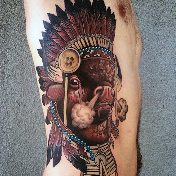 Indian Bison Blowing Steam Mens Rib Cage Side Tattoos