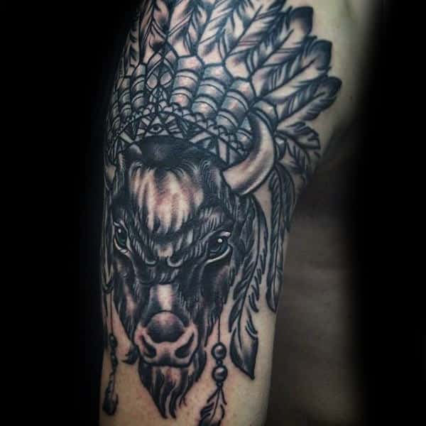 Indian Buffalo Bison Mens Arm Tattoos