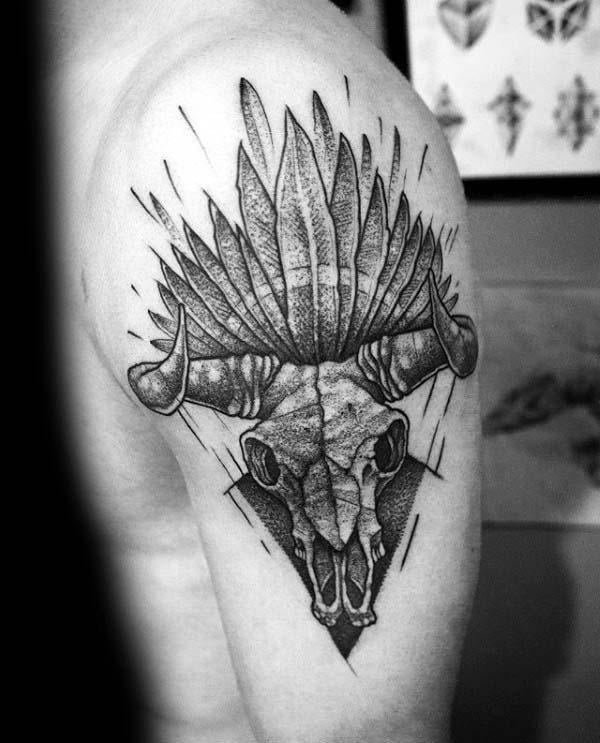 Indian Feather Bull Skull Upper Arm Tattoos For Men