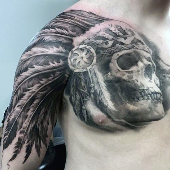 Indian Feather Head With Skull Guys Cool Chest Tattoos