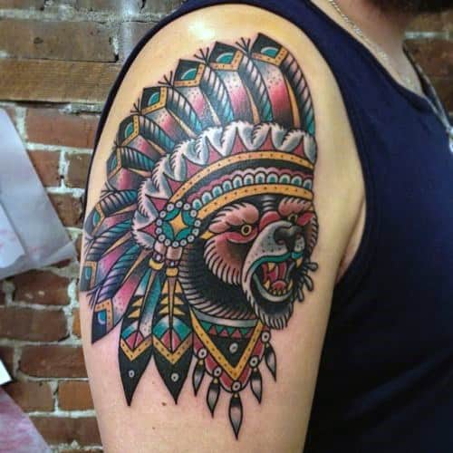 Indian Head Mens Traditional Bear Arm Tattoo Designs