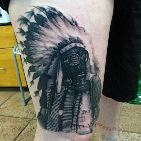 Indian Mens Gas Mask Tattoo On Leg Thigh