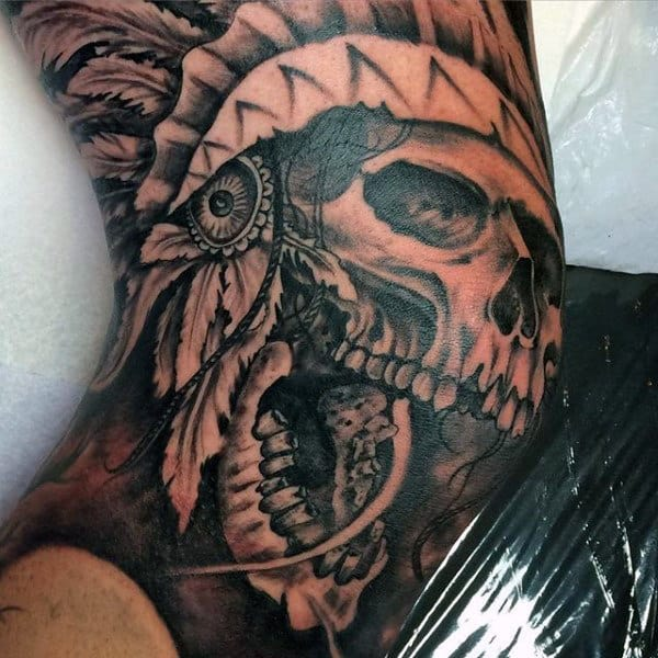 Indian Skull Knee Tattoos For Men