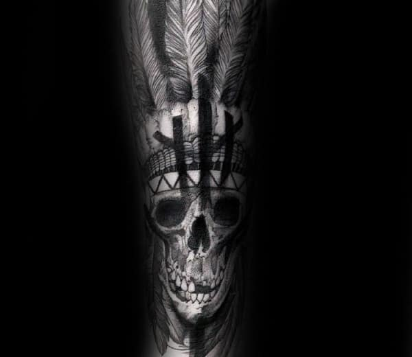 Indian Skull With Broken Teeth Mens Forearm Tattoo Sleeve
