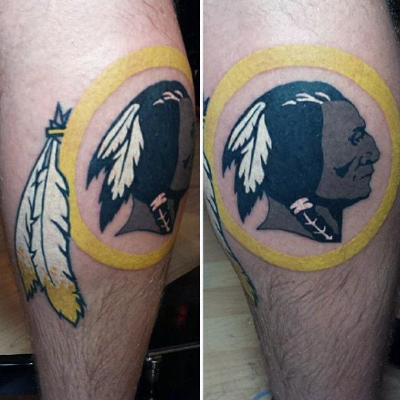 Indians Mens Football Logo Circle Leg Calf Tattoo Designs
