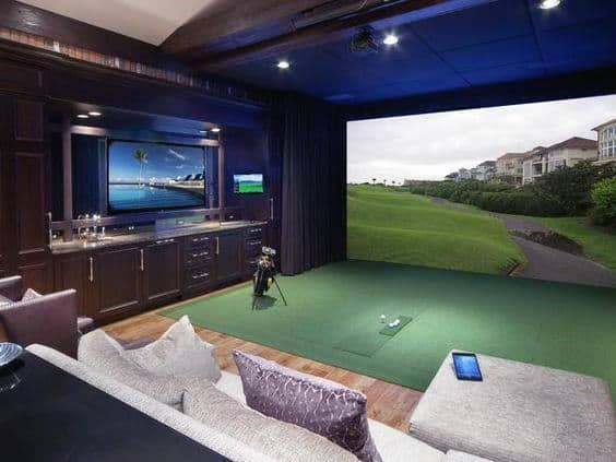 Indoor Golfing Range Home Basement Design