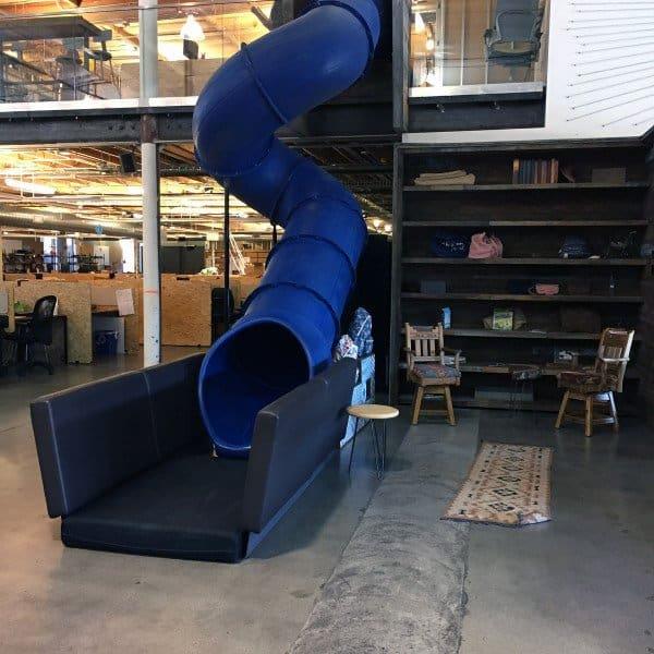 Indoor Office Blue Industrial Play Slide Ideas