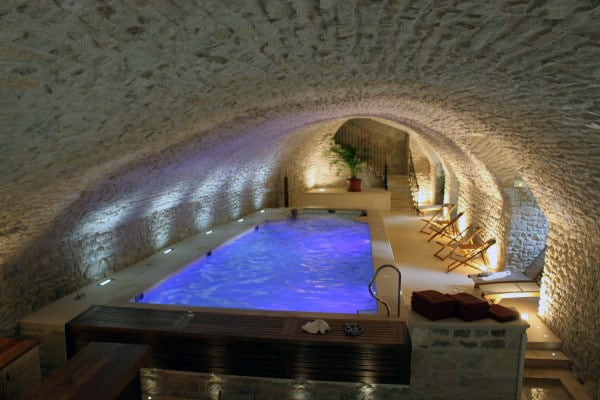 Indoor Stone Brick Wall Home Swimming Pool Designs