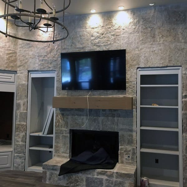 Indoor Stone Fireplace Design