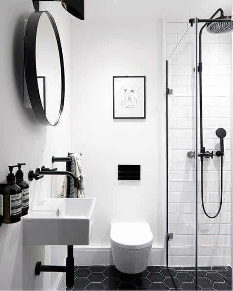 Industrial Black And White Bathroom Ideas With Hexagon Tile Flooring