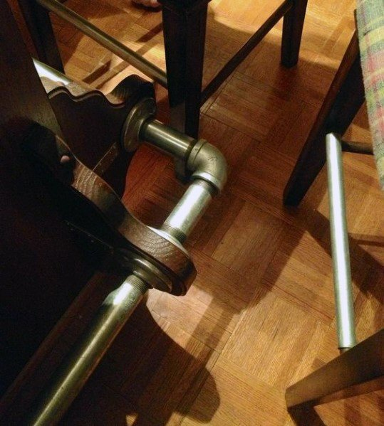 Industrial Brass Look Pipes Bar Foot Rail