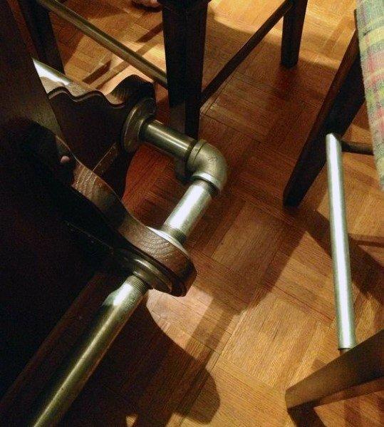 Industrial Brass Look Pipes Bar Foot Rail