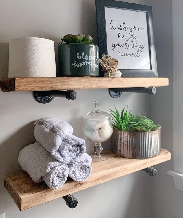 Industrial Farmhouse Towel Storage Shelf Rockycanyonrustic