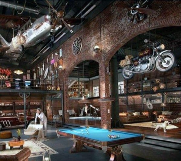 Industrial Garage Ultimate Bachelor Pad With Billards Room