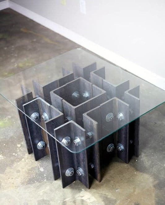 Industrial Man Cave Decor Coffee Table With Steel Beams And Glass