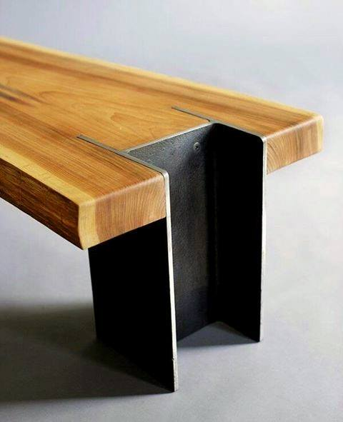 Industrial Steel Beam With Wood Bachelor Pad Furniture Mens Table Ideas