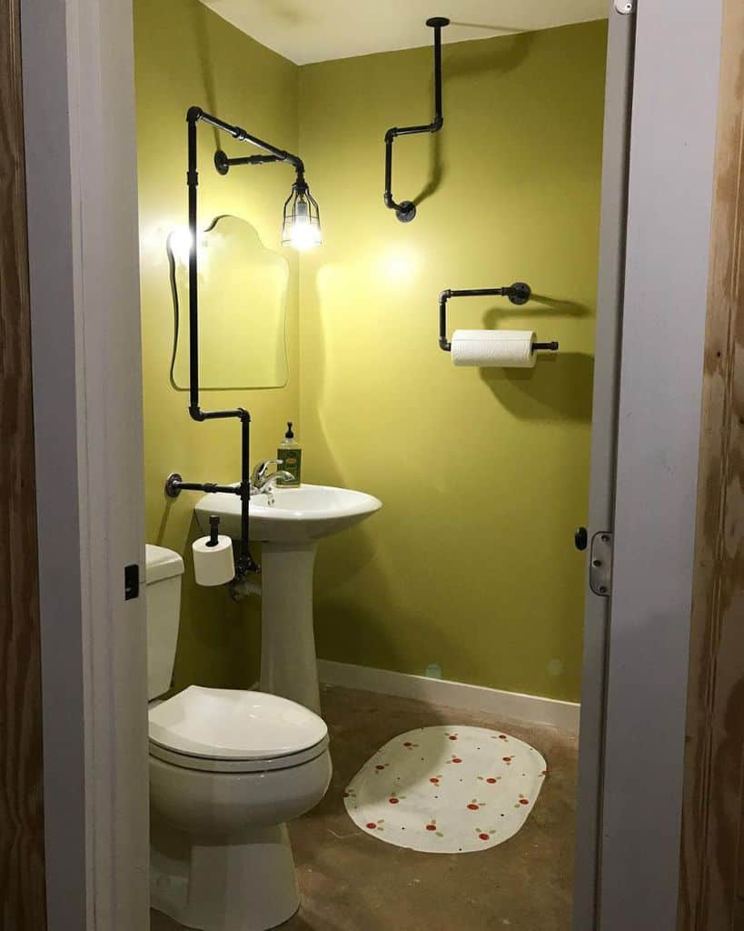 Industrial Style Basement Bathroom Siblanchard
