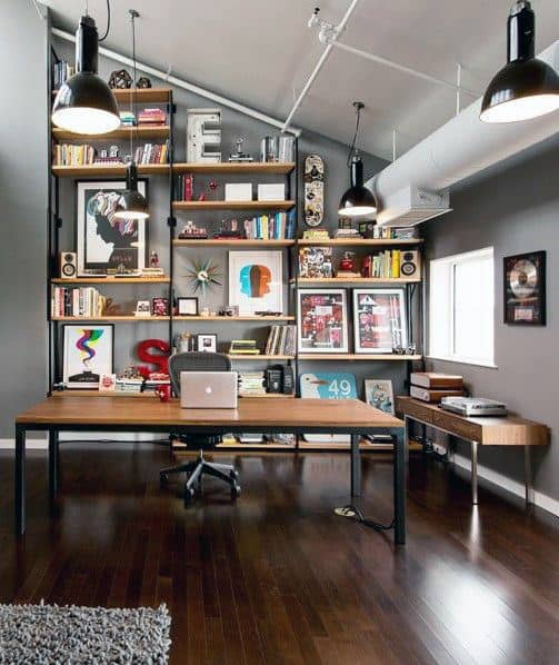Superbe Industrial Themed Small Home Office Design Ideas For Guys