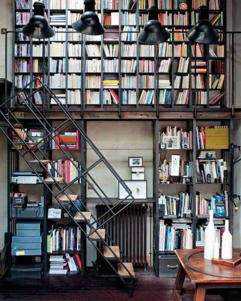 Industrial Two Story Staircase Home Library Designs