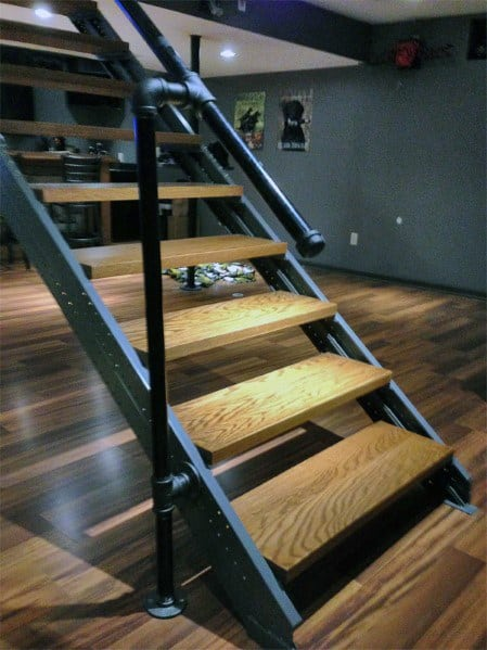 Industrisl Metal Piping With Wood Steps Basement Stairs Interior Design