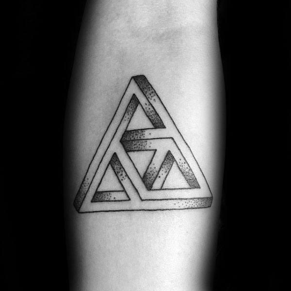 Infinite Triangle Triforce Mens Inner Forearm Tattoo Inspiration