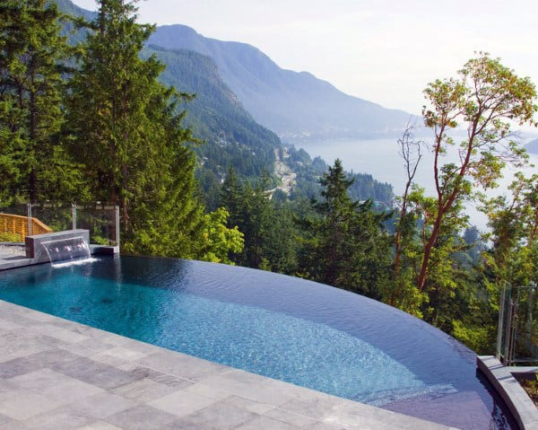 Infinity Edge Home Swimming Pool With Beautiful Mountain View