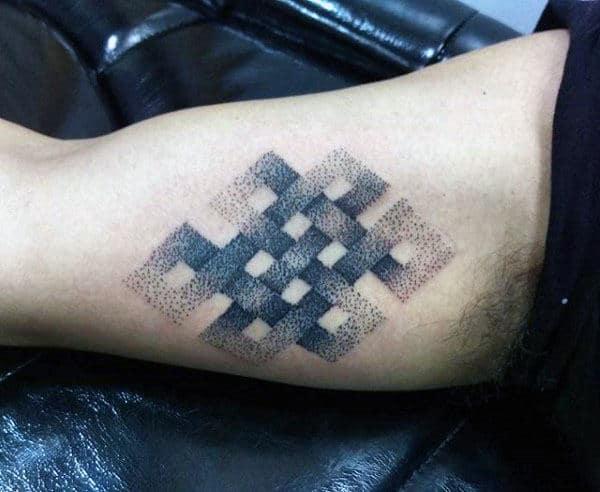 Infinity Knot Pointillism Mens Tattoo On Inner Arm