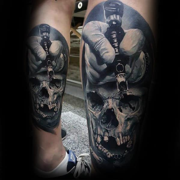 Ink Artist Realistic Skull Mens Back Of Leg Tattoo