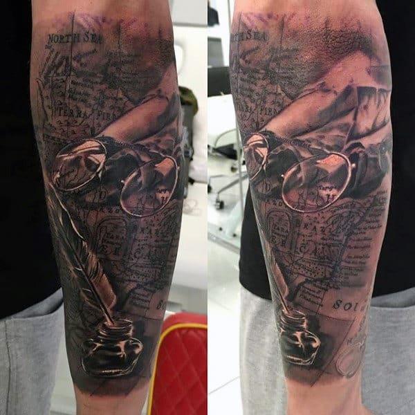 Ink Pen Scrolls Map Tattoo For Men On Forearm