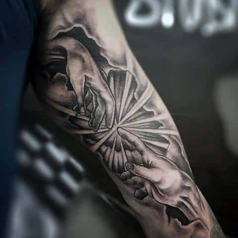 Inner Arm 3d Cool Male The Creation Of Adam Tattoo Designs