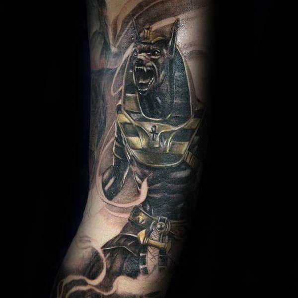 Inner Arm Anubis Realistic Canine God Tattoo Ideas