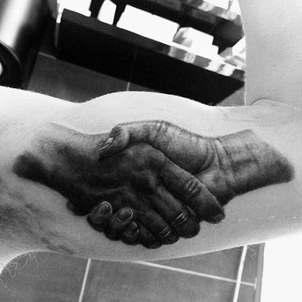 Inner Arm Bice Realistic 3d Handshake Tattoos Male