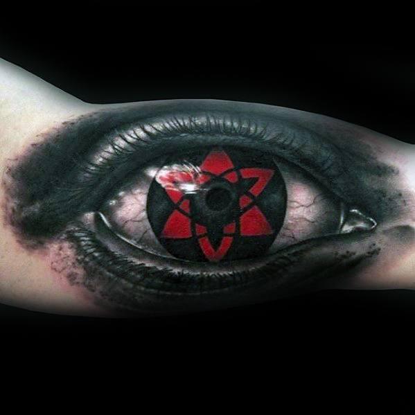 Inner Arm Bicep 3d Eye Masculine Japanese Manga Series Naruto Tattoos For Men