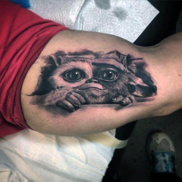 Inner Arm Bicep 3d Gremlin Tattoo Ideas For Men