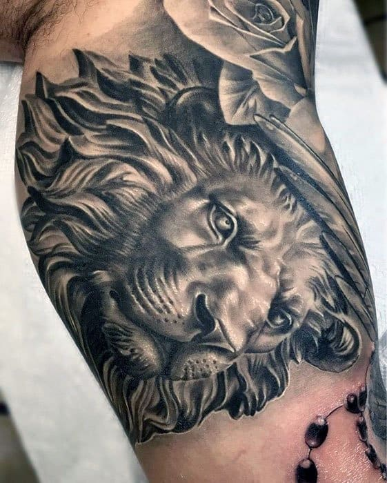 Inner Arm Bicep 3d Lion Statue Mens Tattoo Ideas