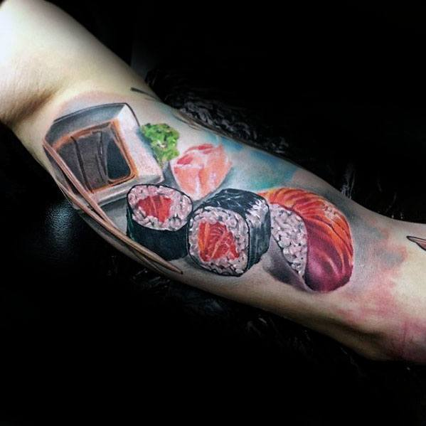 Inner Arm Bicep 3d Realistic Male Sushi Tattoo Ideas