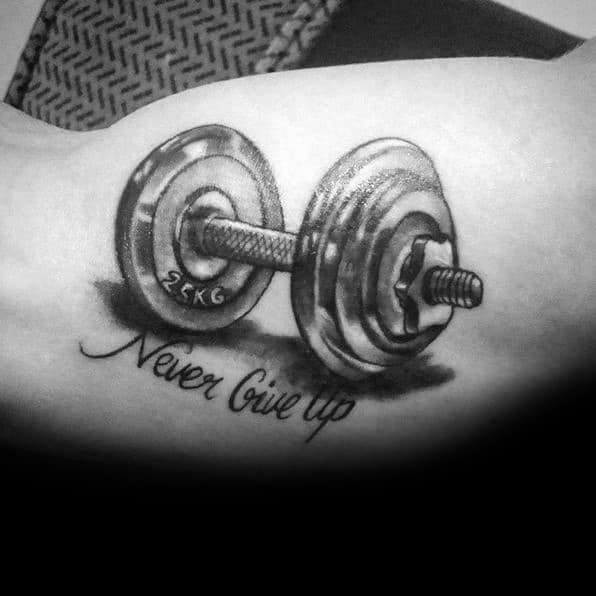 Inner Arm Bicep 3d Weights Never Give Up Mens Cool Crossfit Tattoos