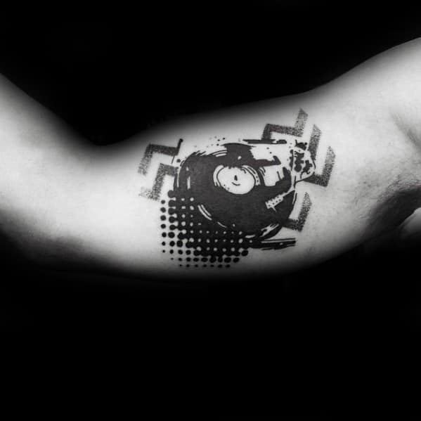 Inner Arm Bicep Abstract Incredible Vinyl Record Tattoos For Men