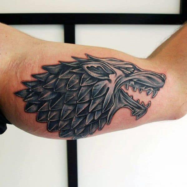 Inner Arm Bicep Amazing Mens Game Of Thrones Dire Wolf Tattoo Designs