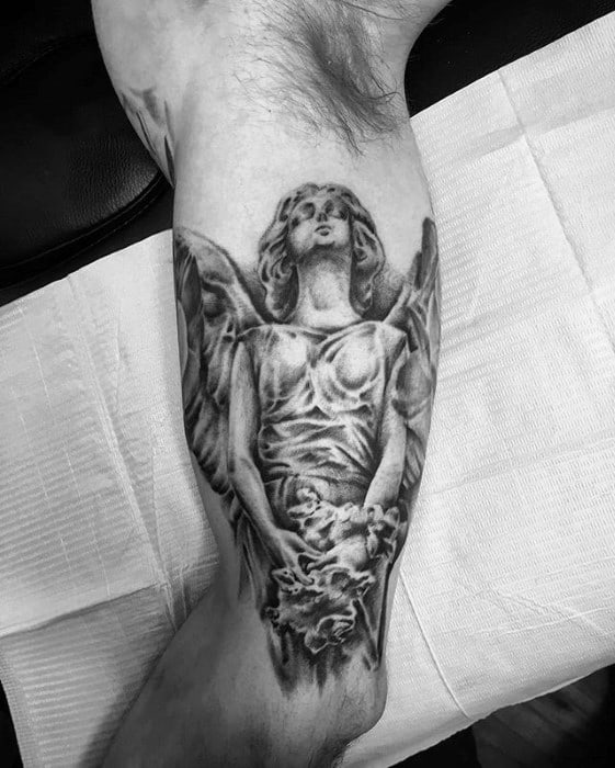 Inner Arm Bicep Angel Statue Male Tattoos