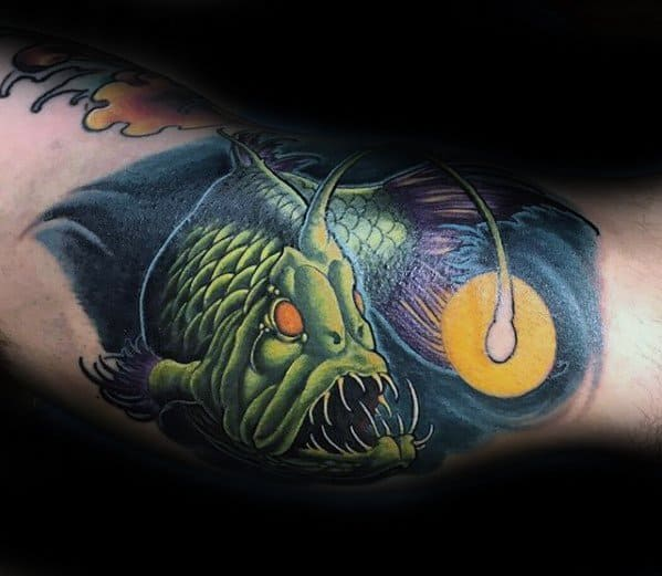 Inner Arm Bicep Angler Fish Guys Tattoo Designs