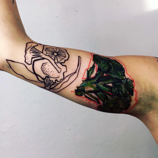 Inner Arm Bicep Artistic Broccoli Tattoo For Males