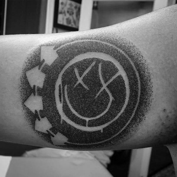 Inner Arm Bicep Artistic Male Blink 182 Tattoo Ideas