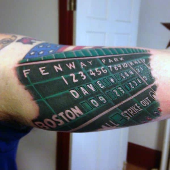 Inner Arm Bicep Baseball Scoreboard Guys Boston Red Sox Tattoo Design Idea Inspiration
