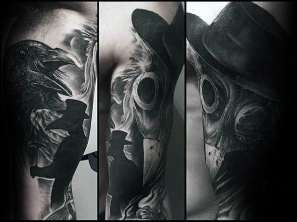 Inner Arm Bicep Black And Grey Ink Creative Plague Doctor Tattoos For Men