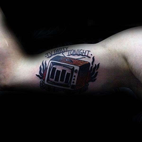 Inner Arm Bicep Black Flag Guys Tattoo Ideas